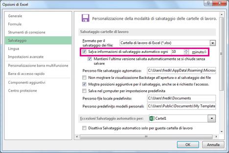 Opzione per il salvataggio automatico nella scheda Salva della finestra di dialogo Opzioni di Excel