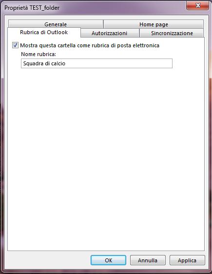 Verificare che la casella di controllo Mostra questa cartella come rubrica di posta elettronica sia selezionata.