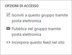 Opzioni di accesso ai gruppi, inclusi la sottoscrizione, la pubblicazione tramite posta elettronica e l'incorporamento di un feed