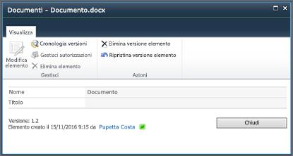 Finestra di dialogo Cronologia versioni di SharePoint 2010