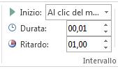 Nel gruppo Intervallo impostare Inizio su Al clic del mouse.