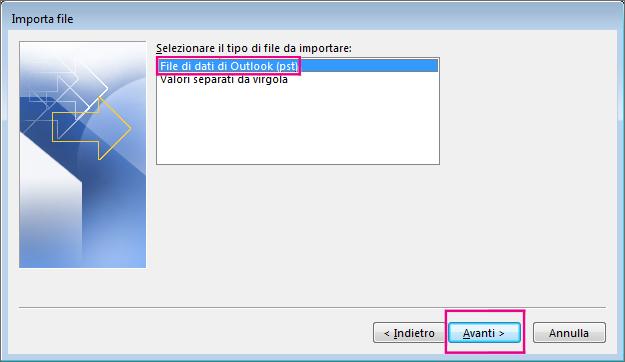 Scegliere di importare un file di dati di Outlook (con estensione pst)