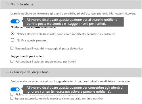 Sezione Notifiche utente e Criteri ignorati dagli utenti dell'editor regole di prevenzione della perdita dei dati