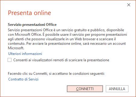 Opzione File > Condividi > Presenta online in PowerPoint