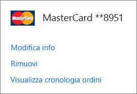 Pagina Opzioni di pagamento, con i collegamenti Modifica info, Rimuovi e Visualizza cronologia ordini per una carta di credito.