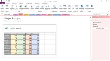 Panoramica di un foglio di calcolo di Excel in una pagina di OneNote