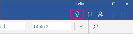 """Posizione dell'icona """"Aiutami"""" sulla barra multifunzione di Word Mobile"""