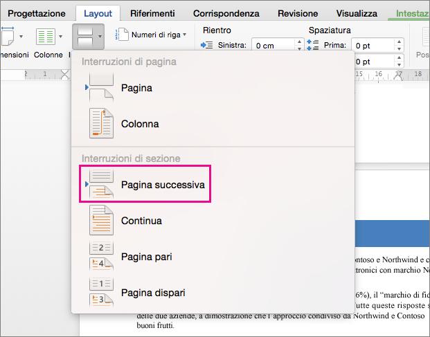 Fare clic su Pagina successiva per inserire un'interruzione di sezione in modo che il testo che la segue inizi nella pagina successiva.