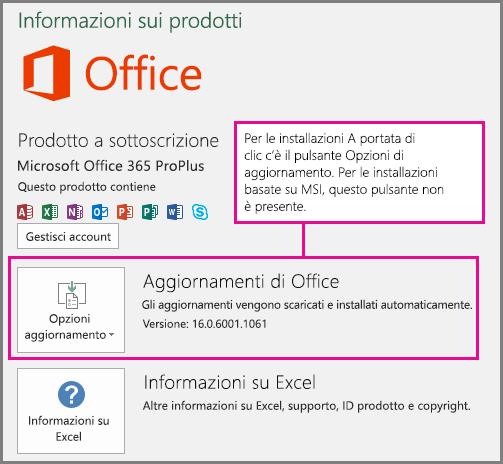 Per le installazioni A portata di clic è presente un pulsante Opzioni aggiornamento nella pagina Account. Per le installazioni basate su MSI, questo pulsante non è presente.