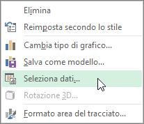 Scegliere Seleziona dati nel menu di scelta rapida del grafico