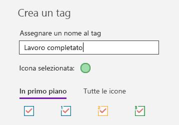 Creazione di tag personalizzati in OneNote per Windows 10