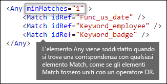 Markup XML che mostra l'elemento Any con l'attributo minMatches