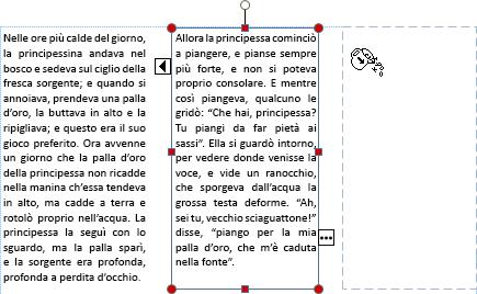 Screenshot di una casella di testo con testo in eccesso pronto a riversarsi in un'altra casella di testo.