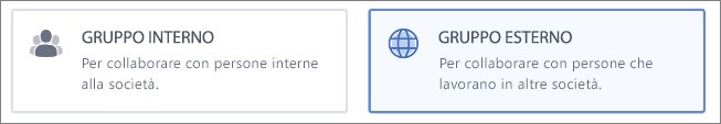 Screenshot che mostra che è possibile scegliere di creare un gruppo esterno o interno