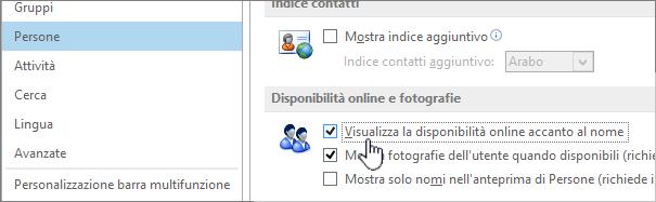 Scheda Persone nella finestra di dialogo Opzioni con l'opzione Visualizza la disponibilità online accanto al nome evidenziata
