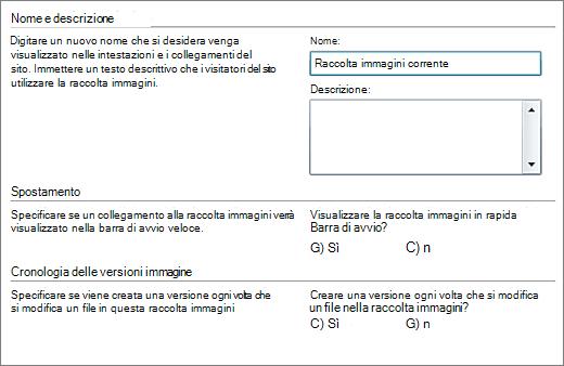 Finestra di dialogo per aggiungere nome, diagramma, riquadro di spostamento Avvio veloce e controllo delle versioni.