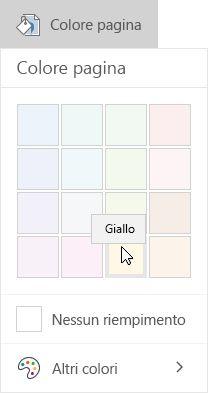Opzioni per i colori di pagina in OneNote per Windows 10