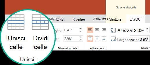 Nel gruppo Unisci della scheda layout in strumenti tabella selezionare Unisci celle.