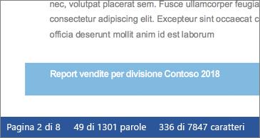 Documento con il numero di caratteri visualizzato nella barra di stato