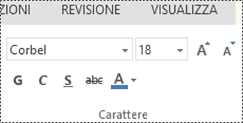Gruppo Carattere in PowerPoint Online