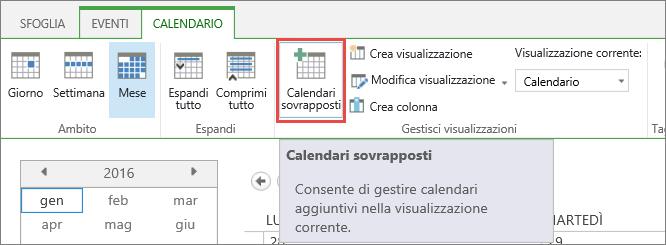 Pulsante Calendari sovrapposti sulla barra multifunzione