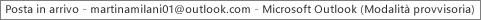Un'etichetta all'inizio della finestra indica il nome della persona proprietaria della cartella Posta in arrivo e che Outlook è in esecuzione in modalità provvisoria