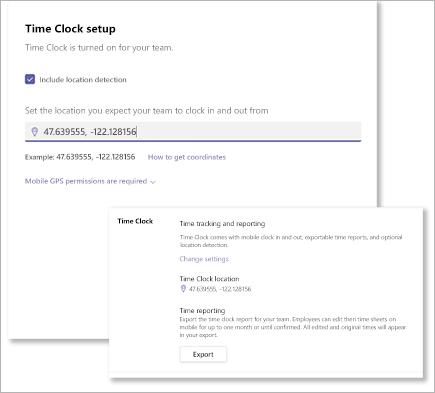 Come trovare le coordinate per Microsoft teams turni Time Clock