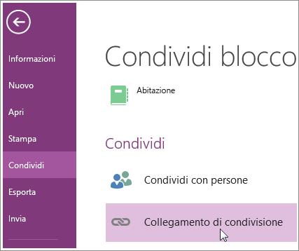 Screenshot della finestra Recupera un collegamento di condivisione in OneNote 2016.
