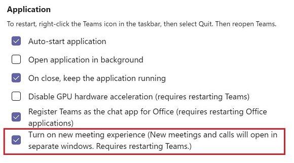 Impostazione nuova esperienza riunione in teams