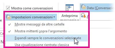 """selezione di """"espandi sempre le conversazioni selezionate"""""""