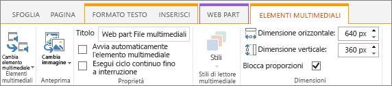 Scheda Elementi multimediali nella barra multifunzione Modifica