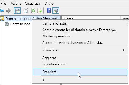 Fare clic con il pulsante destro del mouse su Domini e trust di Active Directory e scegliere Proprietà