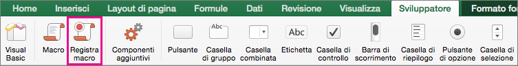 Registrazione macro in Excel per Mac