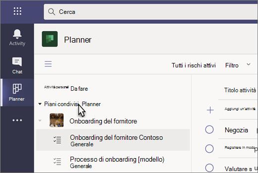 Screenshot dell'app attività in teams, attualmente denominata Planner