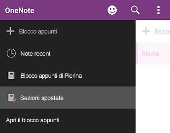Sezioni spostate in OneNote per Android
