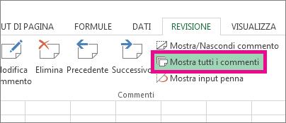 Opzione Mostra tutti i commenti nella scheda Revisione