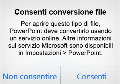 Avviso sulla privacy dei file ODF in PowerPoint per iPhone