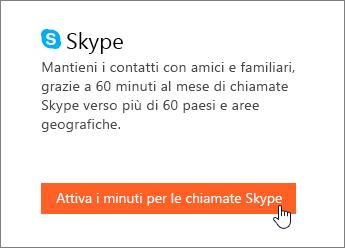 Screenshot che mostra dove attivare i minuti per le chiamate Skype.