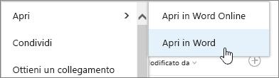 Selezione di un'app per l'apertura con Word selezionato.