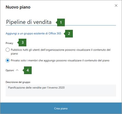 """Screenshot della finestra di dialogo Planner New Plan che mostra i callout per 1 nome immesso """"pipeline di vendita"""", 2 opzione per """"aggiungere a un gruppo di Office 365 esistente"""", 3 opzioni per la privacy e 4 opzioni a discesa."""