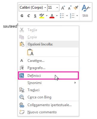 Immagine del menu contestuale con il comando Visualizza definizioni