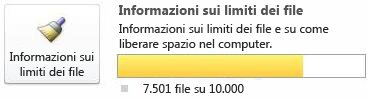 Contatore documenti di SharePoint Workspace, utilizzando da 7500 a 9999 documenti