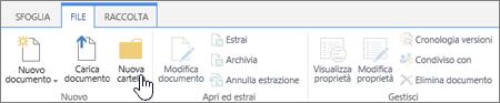 Immagine della barra multifunzione File di SharePoint con il comando Nuova cartella evidenziato.