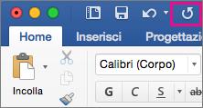 Icona Ripeti evidenziata sulla barra multifunzione