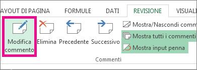 fare clic su modifica commento nella scheda revisione