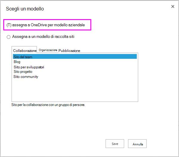 Assegnare a OneDrive per l'opzione modello aziendale