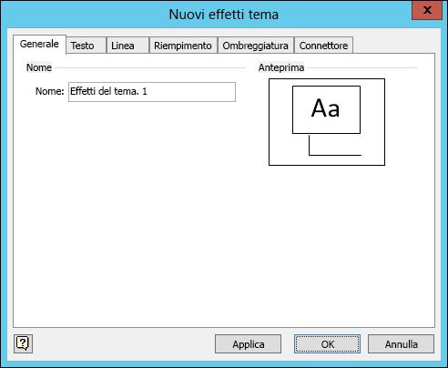 Screenshot della finestra di dialogo Crea nuovi effetti tema in Visio