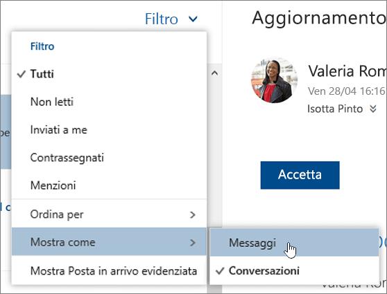 Screenshot del menu Filtra con l'opzione Mostra come selezionata