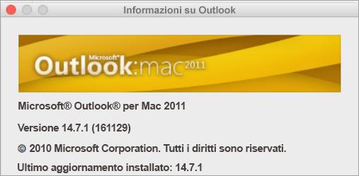 La finestra Informazioni su Outlook conterrà l'indicazione Outlook per Mac 2011.