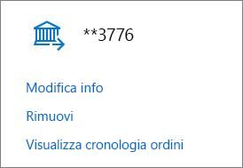 Pagina Opzioni di pagamento, con i collegamenti Modifica info, Rimuovi e Visualizza cronologia ordini per un conto corrente bancario.